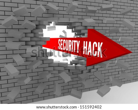 Arrow with words Security Hack breaking brick wall. Concept 3D illustration. - stock photo