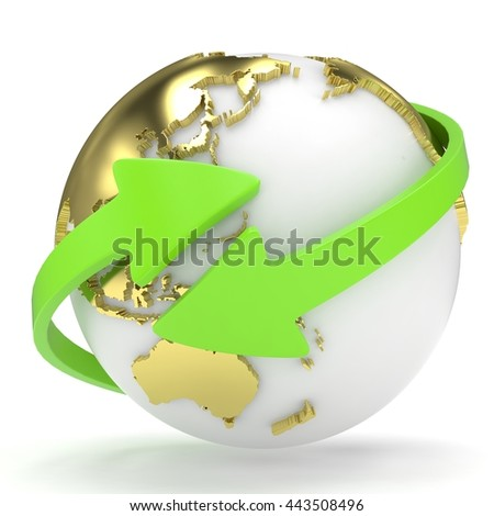 Arrows and Earth globe. 3d render