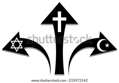 Arrows and religious symbols  - stock photo