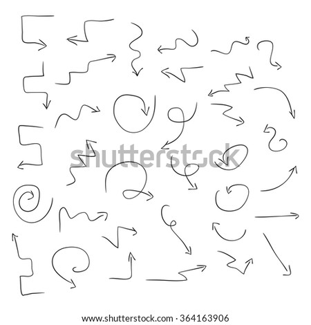 Arrows. Black pattern on a white background. Set. Sketch, Doodle. - stock photo