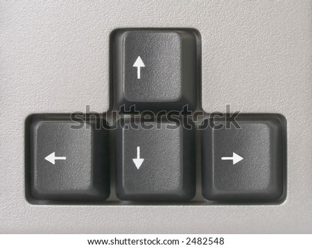 Arrows (computer keyboard), clipping path for each key - stock photo
