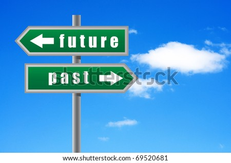 Arrows future past on sky background. - stock photo