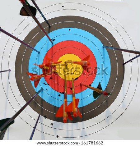 arrows hit target, successful concept - stock photo