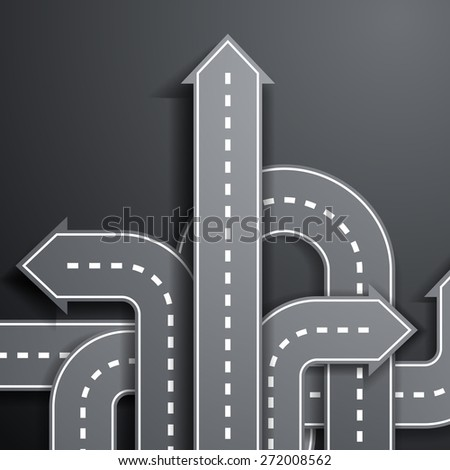 arrows in the form of roads - stock photo