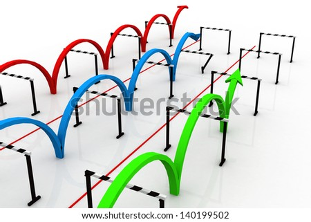 Arrows jumping over hurdles - stock photo