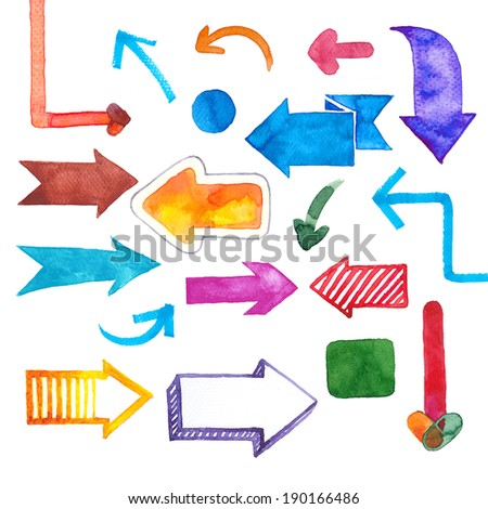 Arrows: many hand-painted colorful watercolor design elements isolated on white background - stock photo