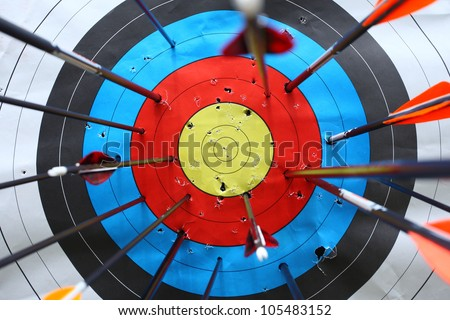 arrows missed target. concept of fail-diligent. - stock photo