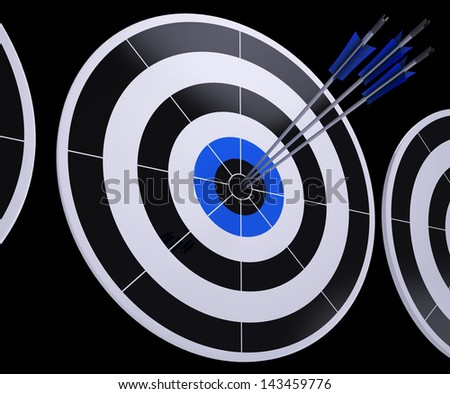 Arrows On Dartboard Shows Successful Hitting And Targeting - stock photo