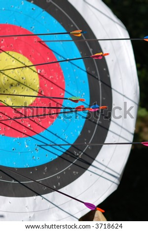 Arrows on target with late afternoon shadows - stock photo