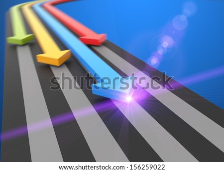 Arrows on the athletics track - stock photo