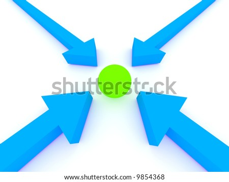Arrows pionting a ball. Rendered image.