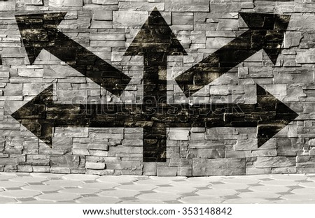 arrows pointing directions - stock photo
