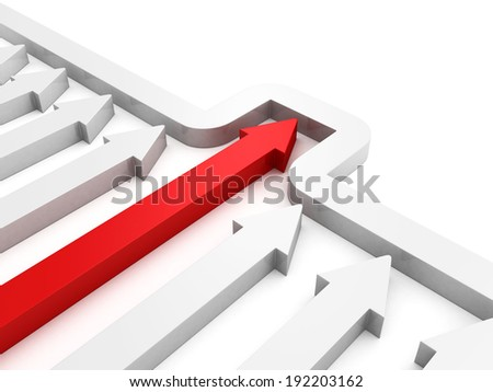 arrows race with red leader behind the wall. business success competition concept 3d render illustration - stock photo