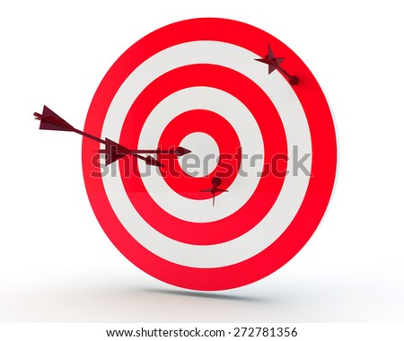 arrows randomly stick out in the purpose - stock photo