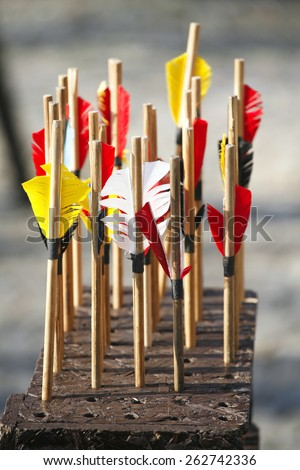 Arrows waiting to get shot at the target      - stock photo