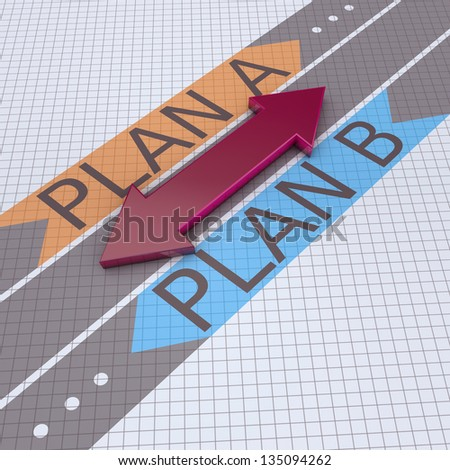 Arrows with plan A plan B - stock photo