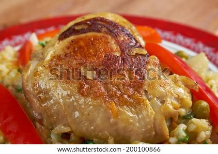 Arroz con Pato del mundo.Peruvian dish - stock photo