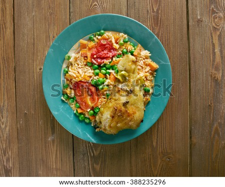 Arroz con pollo a la mexicana - Chicken and rice dish from Latin America - stock photo