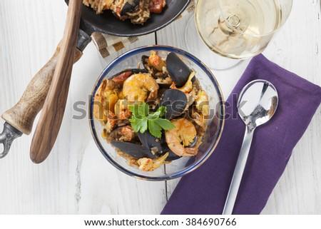 arroz de marisco portugese paella seafood rustic classic curry rice summer dish - stock photo