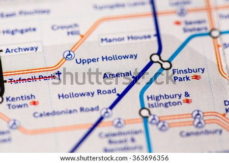Arsenal Station on a map of the Piccadilly metro line in London, UK. - stock photo