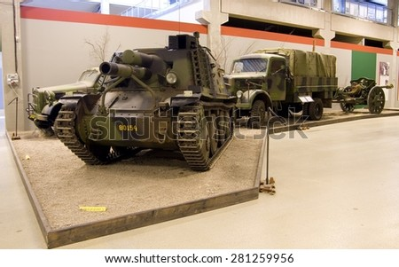 ARSENALEN MUSEUM, STRANGNAS, SWEDEN - MAY 3, 2015: Swedish military vehicle museum in Strangnas, Sweden, May 2015