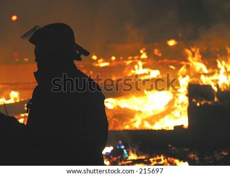 arson fire  - stock photo