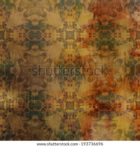 art abstract acrylic and pencil colorful background with damask pattern in beige, green and brown colors - stock photo