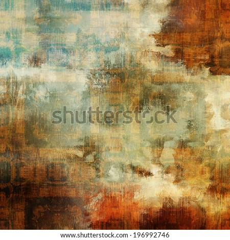 art abstract acrylic and pencil colorful background with damask pattern in beige, orange, red, white, green and brown colors - stock photo