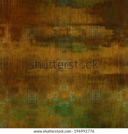 art abstract acrylic and pencil colorful background with damask pattern in brown and green colors - stock photo