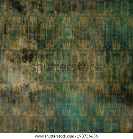 art abstract acrylic and pencil colorful background with damask pattern in green, beige, brown and black  colors - stock photo