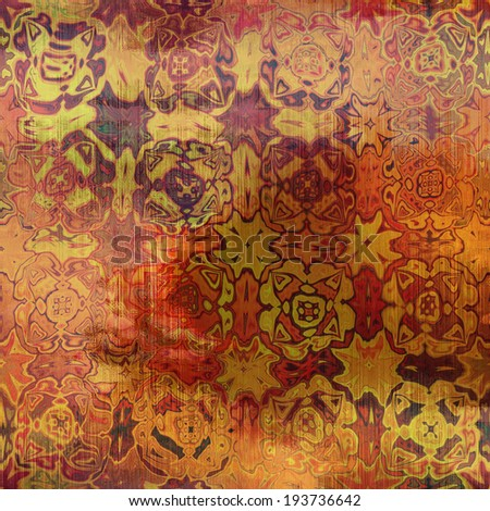 art abstract acrylic and pencil colorful background with damask pattern in yellow, orange, red and brown colors - stock photo