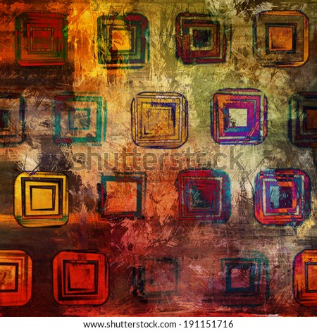 art abstract acrylic and pencil geometric background in red, yellow, orange and brown colors with tiles - stock photo