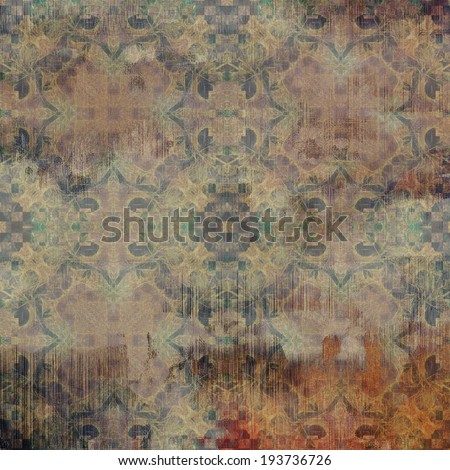 art abstract acrylic and pencil light colorful background with damask pattern in beige, blue, violet and brown colors - stock photo