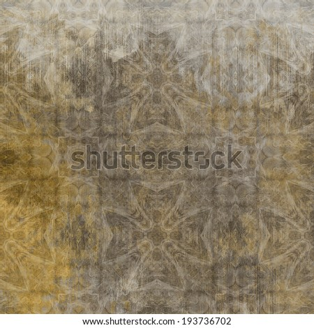 art abstract acrylic and pencil light colorful background with damask pattern in grey, beige, white and brown colors - stock photo