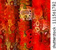 art abstract bright red background, seamless fractal pattern - stock photo