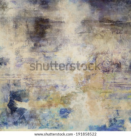 art abstract colorful acrylic and pencil light background in white, beige, blue, brown and grey colors - stock photo