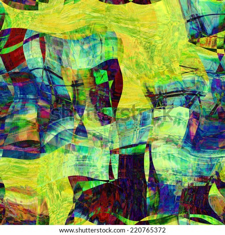 art abstract colorful chaotic waves pattern, background in yellow and blue colors
