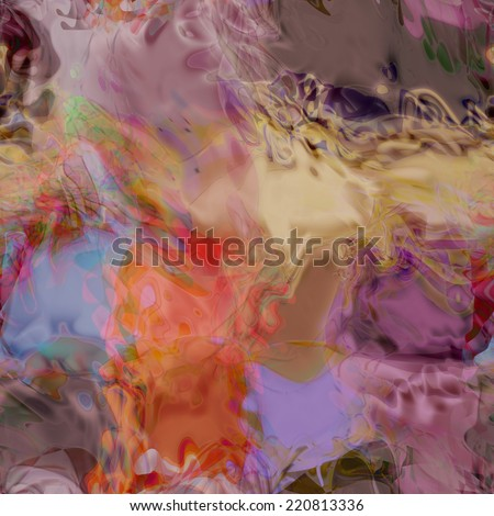 art abstract colorful chaotic waves seamless pattern, background in violet, beige, old gold and grey colors - stock photo