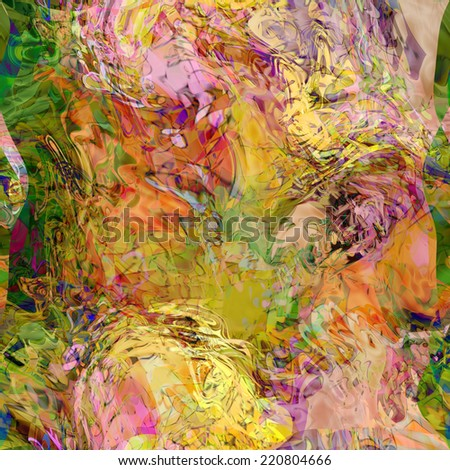 art abstract colorful chaotic waves seamless pattern, transparency delicate background in beige, old gold, pink, orange, lilac and green colors - stock photo