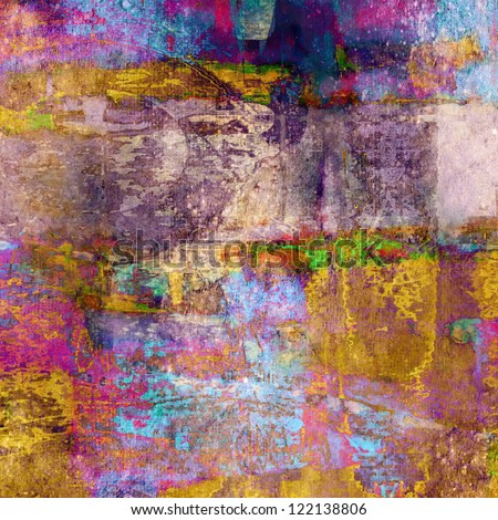 art abstract colorful grunge textured background with pink, violet, orange, blue and yellow blots