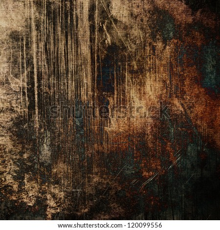 art abstract dark brown and orange grunge textured background with black and green blue blots - stock photo