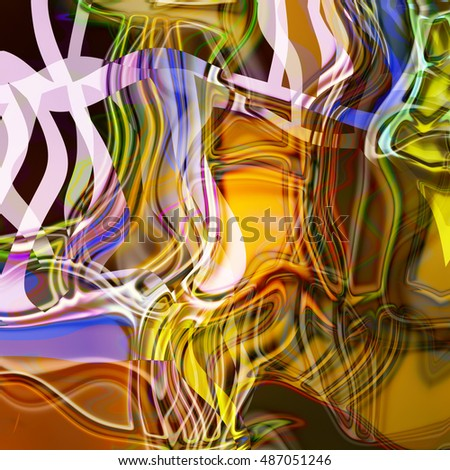 art abstract fractal wave pattern, blurred colored background in gold, orange and violet colors