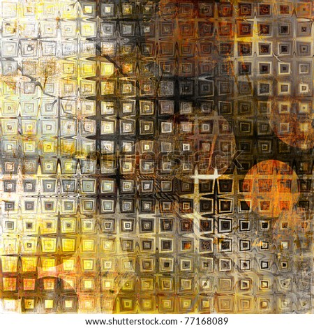 art abstract geometric grunge textured tiles background in gold yellow, orange and brown colors with halftone
