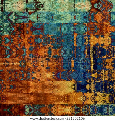 art abstract geometric horizontal stripes pattern background in shades of blue and gold orange colors; vertical seamless ornament - stock photo