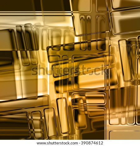 art abstract geometric monochrome pattern in Mondrian style; glass textured blurred background in orange gold, white and black colors