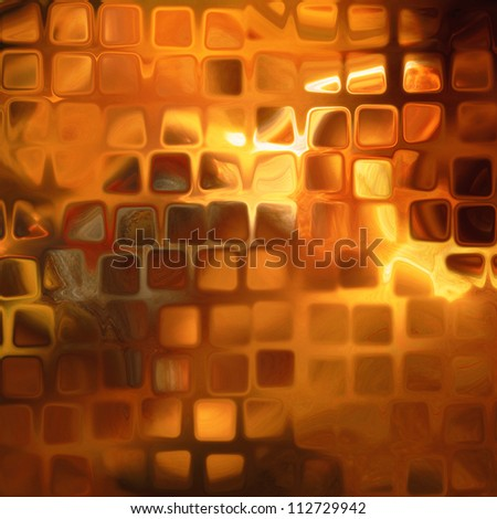 art abstract golden flames geometric pattern, background with shiny tiles - stock photo