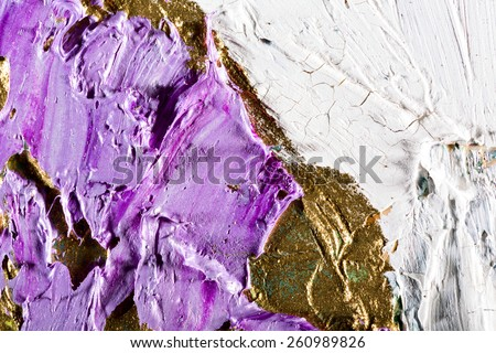art abstract golden painting with colorful blots. Oil on canvas Grunge background with space for text or image