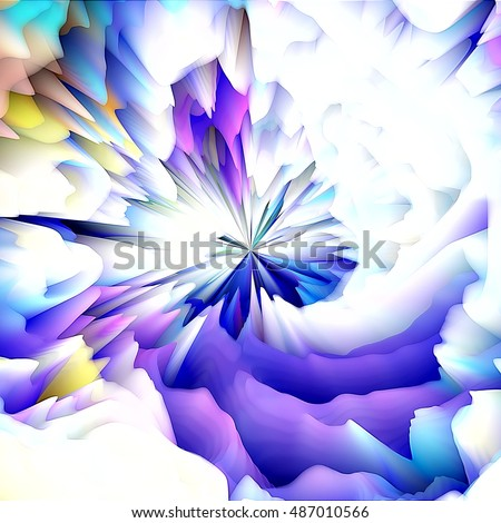 art abstract graphic spherical and  wave  blurred background in blue,  violet and white colors; concept geometric pattern; 3d effect