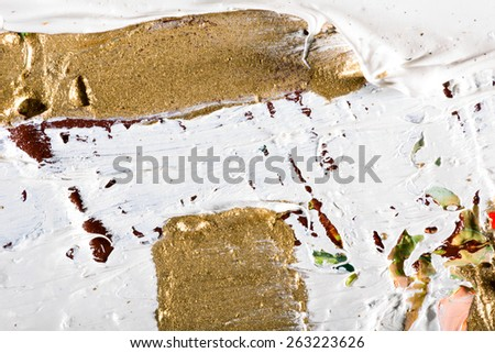 art abstract grunge golden background illustration. Fragment of an original painting. Gold luminescence. Oil and on canvas - stock photo