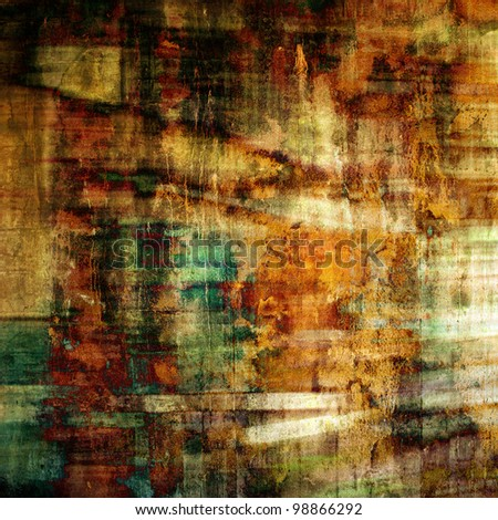 art abstract grunge paper brown background with orange, green and beige blots - stock photo